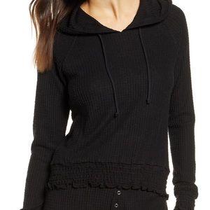 bp // smocked thermal hoodie top